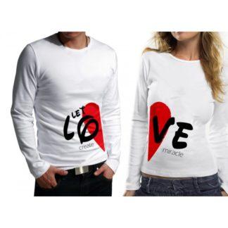 Комплект блузи за влюбени- LET LOVE CREAT MIRACLE