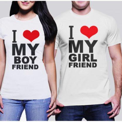 Комплект тениски за влюбени - I LOVE MY BOY FRIEND I LOVE MY GIRL FRIEND
