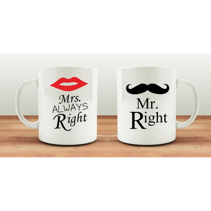 Чаши за влюбени MR RIGHT – MRS AWLAYS RIGHT