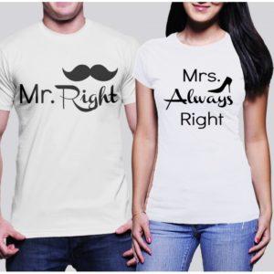 Мъжка тениска MR. RIGHT И Дамски тениска MRS. ALWAYS RIGHT