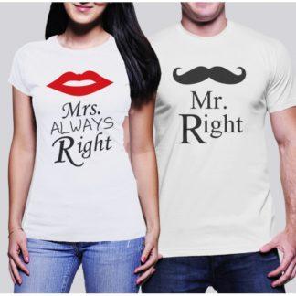 Комплект тениски за влюбени MR RIGHT MRS - MRS ALWAYS RIGHT