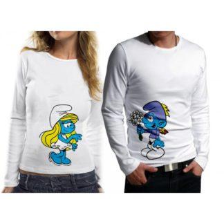 Комплект блузи за влюбени - SMURF & SMURFETTE