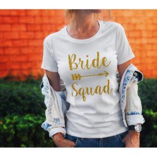 Тениска за моминско парти – BRIDE SQUAD GLITTER
