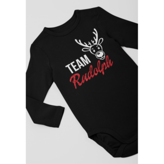 Коледно бебeшко боди с дълъг ръкав Team Rudolph Glitter