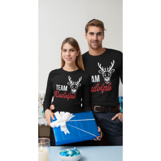 Комплект коледни блузи Team Rudolph Glitter