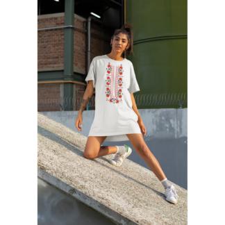 Дамска тениска-рокля с шевица – 06