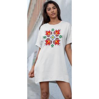 Дамска тениска-рокля с шевица – 08