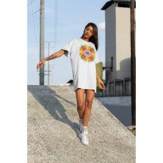 Дамска тениска-рокля с шевица - 02
