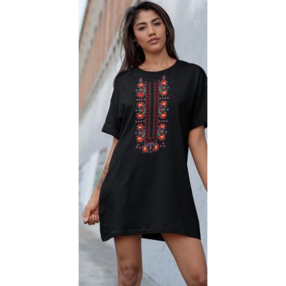 Дамска тениска-рокля с шевица - 05