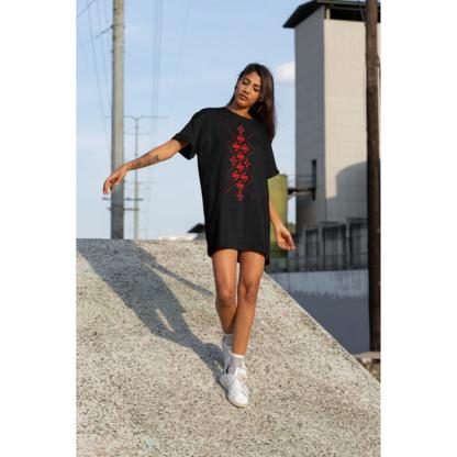 Дамска тениска-рокля с шевица – 09