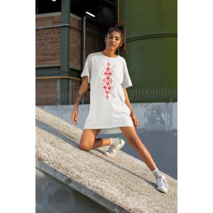 Дамска тениска-рокля с шевица – 10