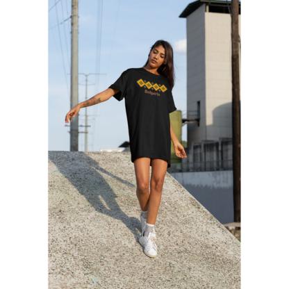 Дамска тениска-рокля с шевица – 13