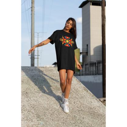 Дамска тениска-рокля с шевица – 15