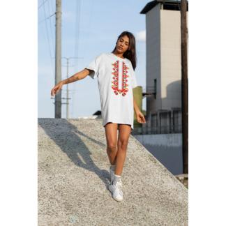 Дамска тениска-рокля с шевица – 18