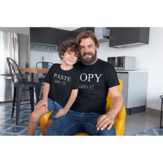 Комплект мъжка и детска тениска или боди-COPY PASTE