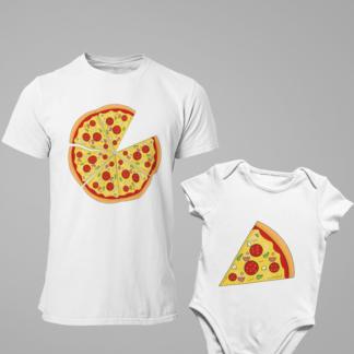 Комплект мъжка тениска и детска тениска или боди-PIZZA