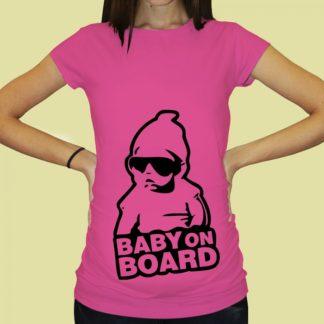 Дамска тениска с щампа за бременни – 60