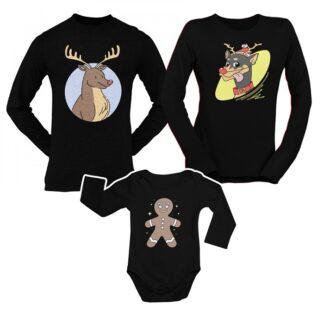 Коледен комплект блузи и боди-DEERS AND COOKIE