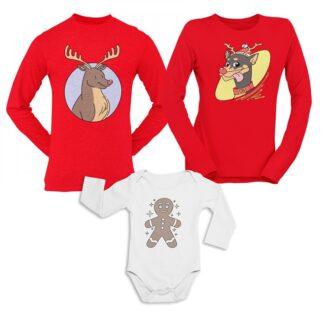 Коледен комплект блузи и боди-DEERS AND COOKIE-2