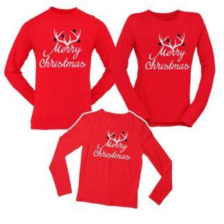 Комплект блузи-MERRY CHRISTMAS-червен цвят
